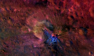 Astrogeological Photograph - Vesta Asteroid Surface by Nasa/jpl-caltech/uclamps/dlr/ida