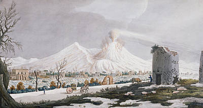 Italian Landscapes Drawing - Vesuvius In Snow, Plate V From Campi by Pietro Fabris