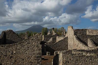 Vesuvius Towering Over The Pompeii Ruins Art Print
