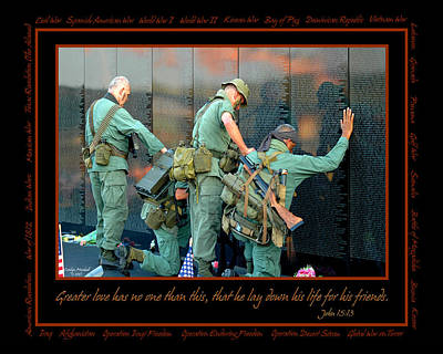 Veterans At Vietnam Wall Print by Carolyn Marshall