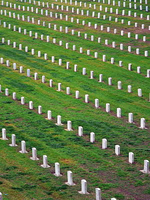 Photograph - Veterans Cemetery Graves by Jeff Lowe