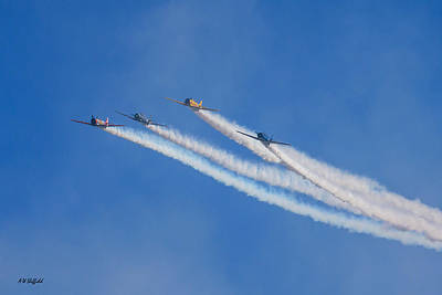 Missing Man Formation Photograph - Veterans Day Flyover - Approach by Allen Sheffield