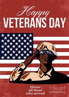 African-american Digital Art - Veterans Day Greeting Card American by Aloysius Patrimonio