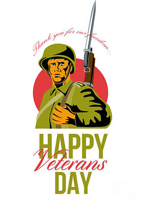 Veterans Day Greeting Card American Wwii Soldier Art Print