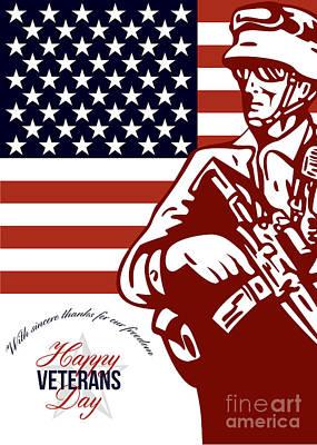 M 16 Digital Art - Veterans Day Modern American Soldier Card by Aloysius Patrimonio
