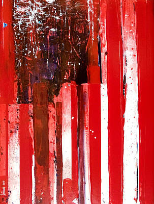 Red White And Blue Mixed Media - Veteran's Flag by Charles Jos Biviano