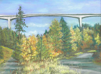 Pastel - Veterans Memorial Bridge In Coeur D'alene by Harriett Masterson