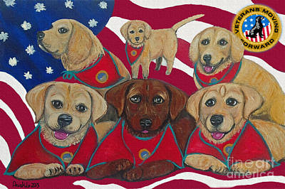 Painting - Vets Moving Forward Pups by Ania M Milo