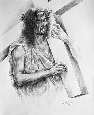 Pencil Drawing Of Jesus Painting - Via Dolorosa by Derrick Higgins
