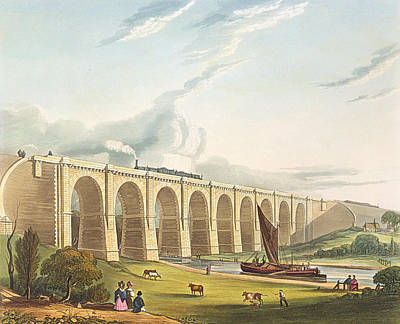 Train Drawing - Viaduct Across The Sankey Valley, Plate by Thomas Talbot Bury