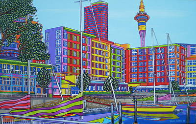 Contemporary Painting - Viaduct Harbour Auckland by Brian Sparks