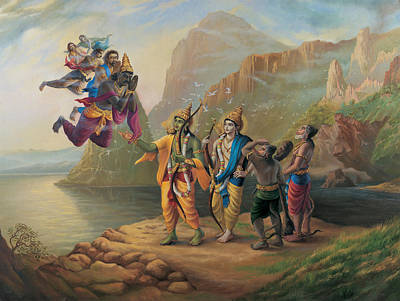 Painting - Vibhishan Meeting Ram And Lakshman by Vrindavan Das