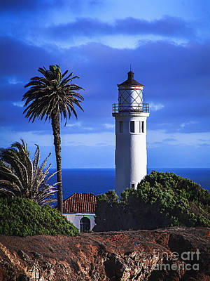 Photograph - Vibrant Blue Sky Point Vicente California Lighthouse by Jerry Cowart