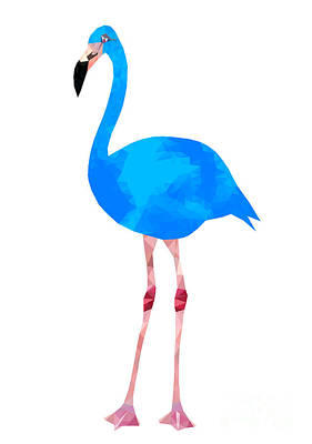 3d Digital Art - Vibrant Dark Blue Flamingo Bird Low by Samantha Jo