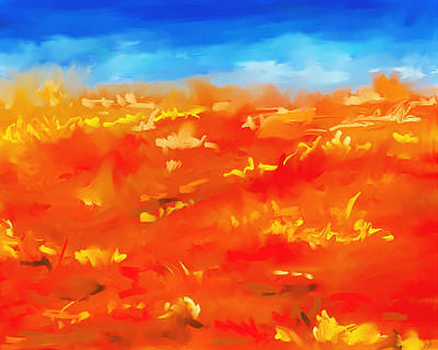 Painting - Vibrant Desert Abstract Landscape Painting by Michelle Wrighton