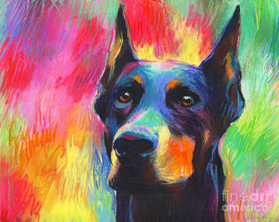 Dog Portrait Painting - Vibrant Doberman Pincher Dog Painting by Svetlana Novikova