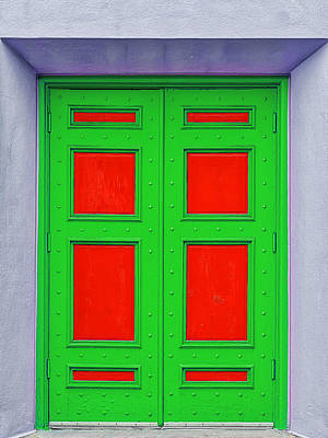 Photograph - Vibrant Green And Red Door by Frank J Benz