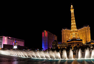 Photograph - Vibrant Las Vegas - Bellagio's Fountains Paris Bally's And Flamingo by Georgia Mizuleva
