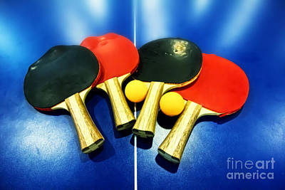 Vibrant Ping-pong Bats Table Tennis Paddles Rackets On Blue Art Print
