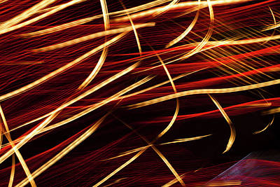 Photograph - Vibrant Red And Gold Abstract Light by Ralf Hiemisch