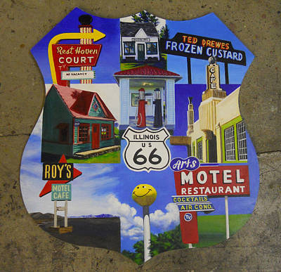40s Painting - Vibrant Route 66 by Sarah Vandenbusch