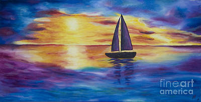 Painting - Glowing Sunset Sail by Nicole Burnett