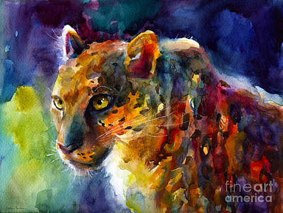 Svetlana Novikova Art Painting - Vibrant Watercolor Leopard Wildlife Painting by Svetlana Novikova
