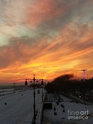 Photograph - Vibrant Winter Sunrise Over Coney Island by John Telfer