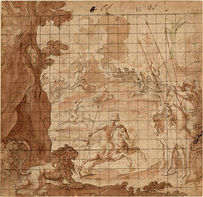 Wash Drawing - Vicencio Carducho, Italian 1578-1638, The Lion Hunt by Litz Collection