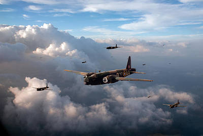 Digital Art - Vickers Wellingtons No 75 Squadron by Gary Eason