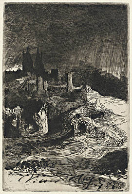 Hugo Drawing - Victor, Hugo, Landscape, French, 1802-1885 by Litz Collection