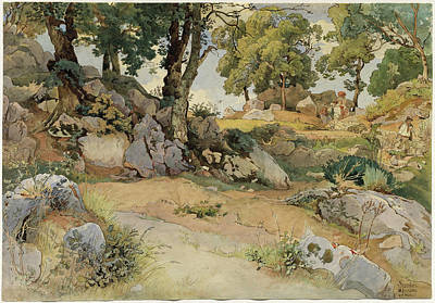 Victor Drawing - Victor Paul Mohn German, 1842 - 1911, Rocks And Oaks by Quint Lox
