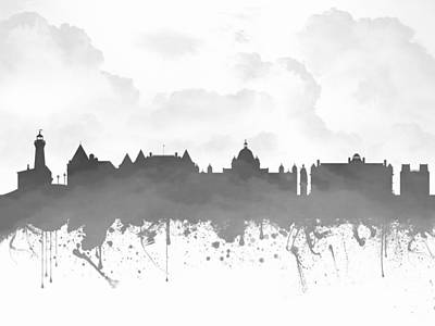 British Columbia Digital Art - Victoria British Columbia Skyline - Gray 03 by Aged Pixel