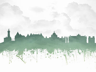 British Columbia Mixed Media - Victoria British Columbia Skyline - Green 03 by Aged Pixel