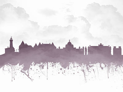 Columbia Mixed Media - Victoria British Columbia Skyline - Purple 03 by Aged Pixel