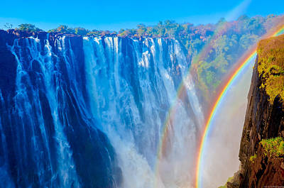 Photograph - Victoria Falls Double Rainbow by Jeff at JSJ Photography