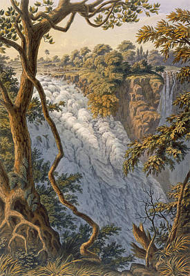 Vegetation Drawing - Victoria Falls The Leaping Water by Thomas Baines