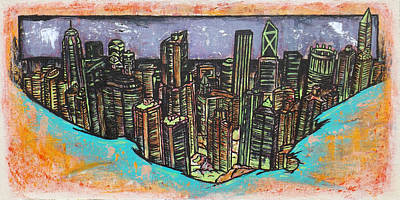 Hong Kong Drawing - Victoria Peak by Matthew Martnick