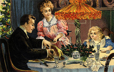 Mixed Media - Victorian Christmas Family  Meal Vintage Poster. by R Muirhead Art