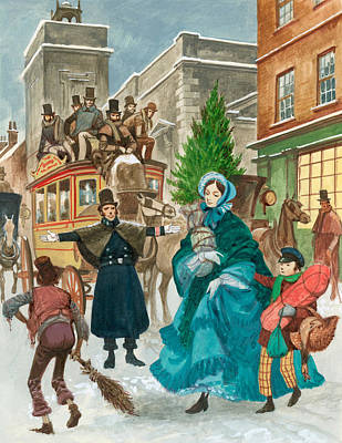 Horse Drawn Carriage Painting - Victorian Christmas Scene by Peter Jackson