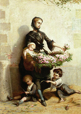 Sit-ins Painting - Victorian Flower Seller by Leopold de Moulignon