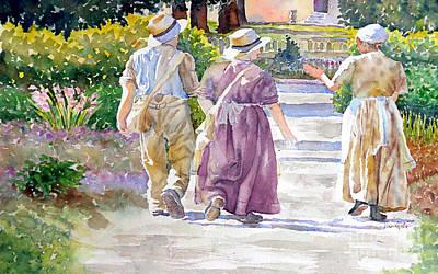 Painting - Victorian Gardeners by Marisa Gabetta