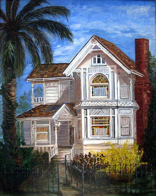 Art Print featuring the painting Victorian House by LaVonne Hand
