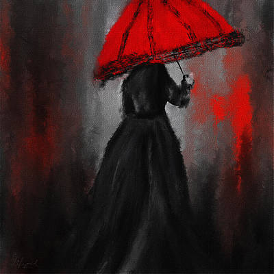 Victorian Lady With Parasol Art Print by Lourry Legarde