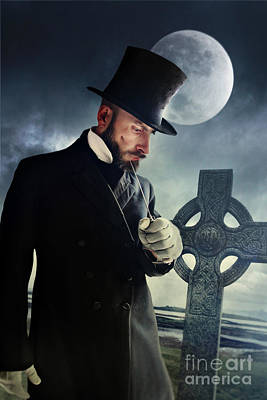 Photograph - Victorian Man Holding Knife With Moon And Grave In Background by Sandra Cunningham
