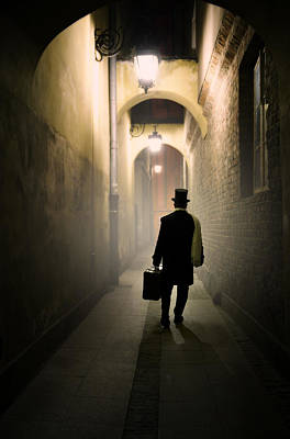 Photograph - Victorian Man With Top Hat Carrying A Suitcase In The Alley by Jaroslaw Blaminsky