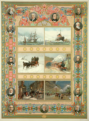 Victorian Men Of Achievement Art Print by British Library
