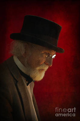 Gold Fill Wire Photograph - Victorian Or Edwardian Senior Man With White Beard And Top Hat by Lee Avison