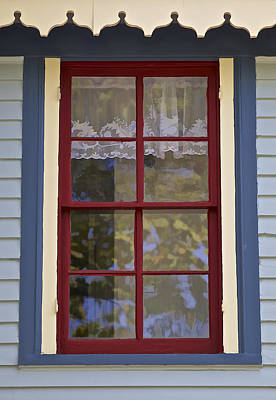 Photograph - Victorian Red Wood Window  by David Letts