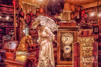 Umbrellas Mixed Media - Victorian Shop by Mo T